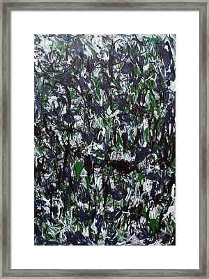 Black White And Green Jungle Splashes Framed Print