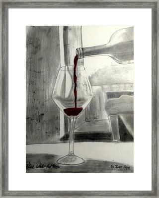 Black White And Red Wine Framed Print