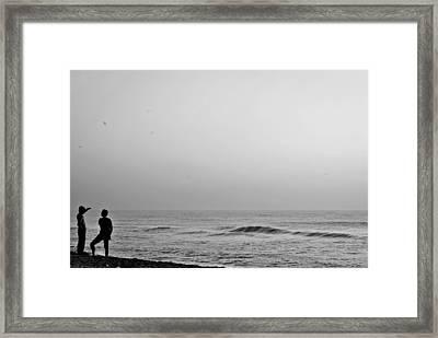 Black White Beach Framed Print by Sathish Sen