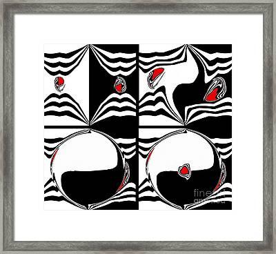 Black White Red Op Art Minimalism No.46. Framed Print