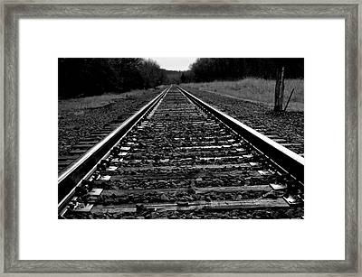 Framed Print featuring the photograph Black White Tracks by Karen Kersey