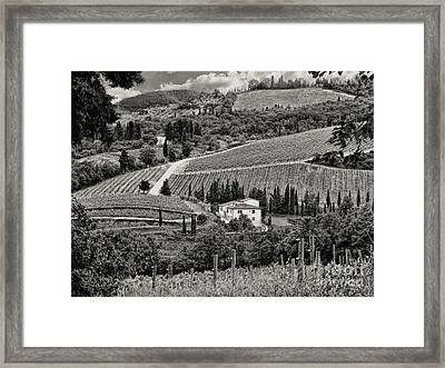 Black White Tuscan Countryside Framed Print by Jennie Breeze