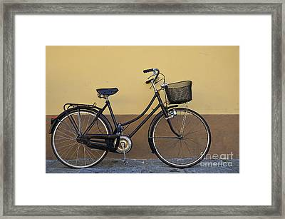 Black Woman Bicycle On Wall Framed Print