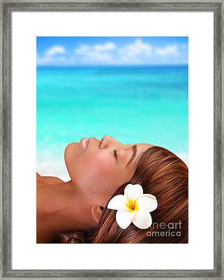 Black Woman On The Beach Framed Print