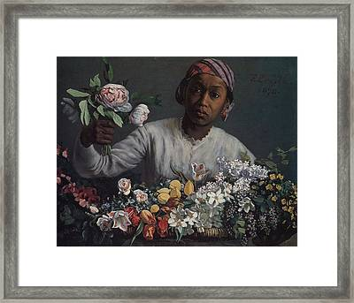 Black Woman With Peonies Framed Print by Celestial Images