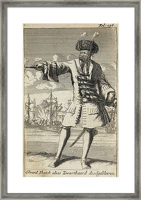 Blackbeard The Pirate Framed Print by British Library