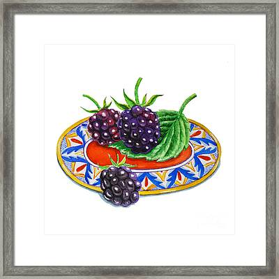 Blackberries On Deruta Plate Framed Print