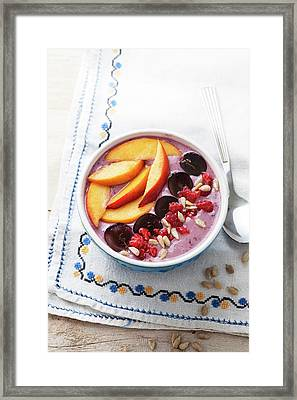 Blackberry Smoothie With Fresh Fruit Framed Print by Gustoimages