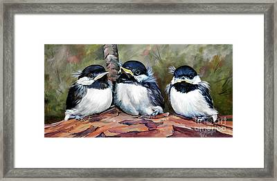 Blackcapped Chickadee Babies Framed Print
