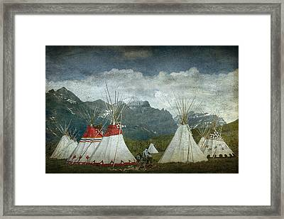 Blackfoot Camp At A Summer Powwow At St. Mary By Glacier National Park Framed Print