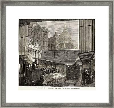 Blackfriars Underground Station Framed Print by British Library