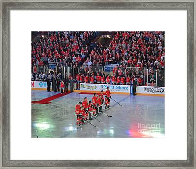 Blackhawks Fight Cancer Framed Print by Melissa Goodrich