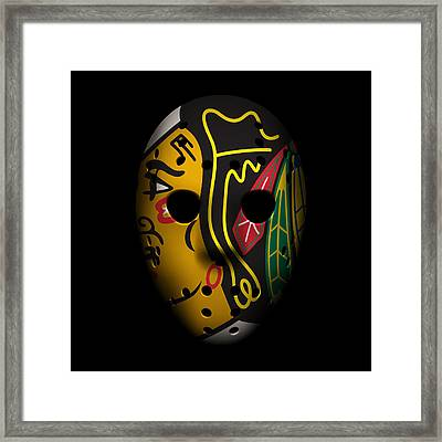 Blackhawks Goalie Mask Framed Print by Joe Hamilton