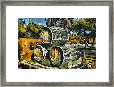 Blackjack Winery Wine Barrels Framed Print