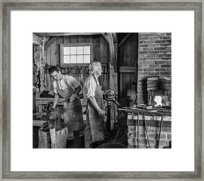 Blacksmith And Apprentice 2 Bw Framed Print by Steve Harrington