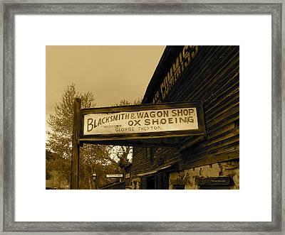 Blacksmith And Ox Shoeing Signage Framed Print