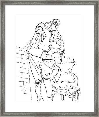 Blacksmith Illustration Framed Print by Elizabeth Briggs
