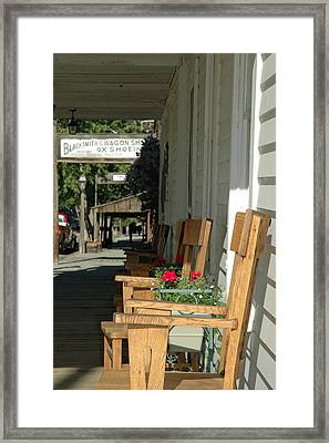 Blacksmith Shop On The Boardwalk Of Virginia City Montana Framed Print