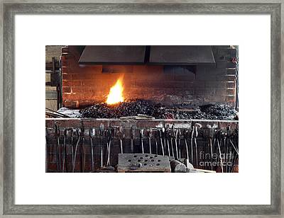 Blacksmith Stove And Tools Framed Print by Lee Serenethos