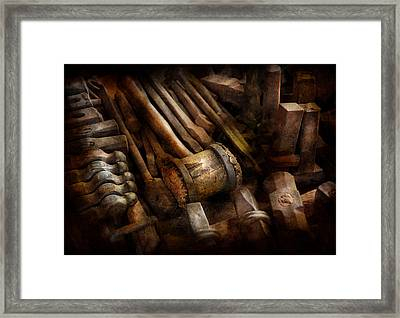 Blacksmith - The Art Of Pounding  Framed Print by Mike Savad