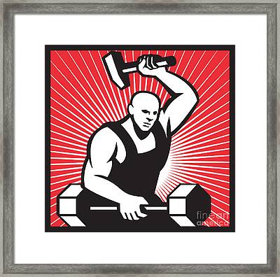 Blacksmith With Hammer Striking Barbell Framed Print by Aloysius Patrimonio