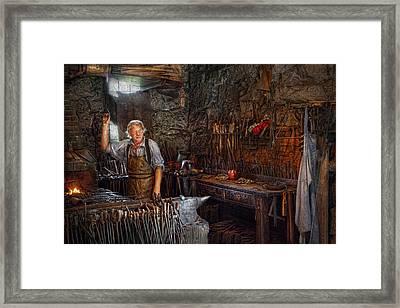 Blacksmith - Working The Forge  Framed Print