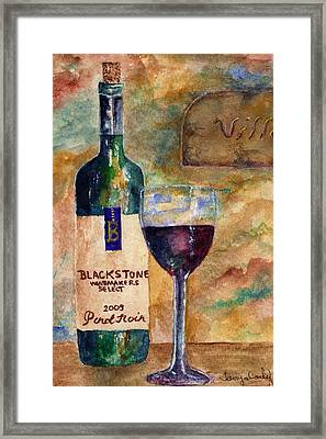 Framed Print featuring the painting Blackstone Wine by Tamyra Crossley