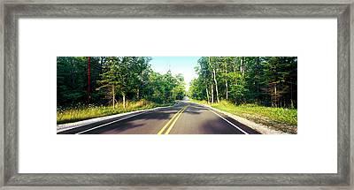 Blacktop Asphalt Curving Highway, Route Framed Print