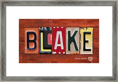 Blake License Plate Name Sign Fun Kid Room Decor Framed Print by Design Turnpike