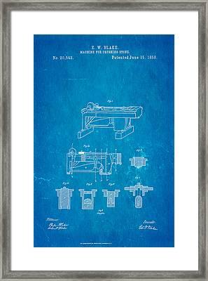 Blake Stone Crushing Patent 1858 Blueprint Framed Print by Ian Monk