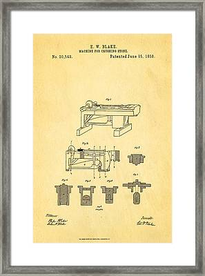 Blake Stone Crushing Patent 1858 Framed Print by Ian Monk