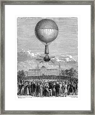 Blanchard's First Balloon Flight Framed Print by Science Photo Library