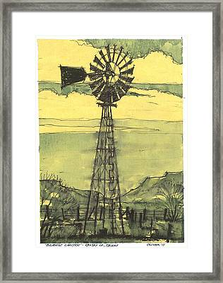 Framed Print featuring the mixed media Blanco Canyon Windmill by Tim Oliver