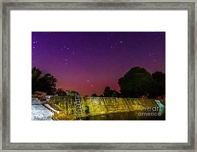 Blanco River Dam At Night - Texas Hill Country Blanco Texas Framed Print by Silvio Ligutti
