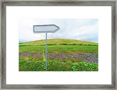 Blank Directional Sign In A Field Framed Print