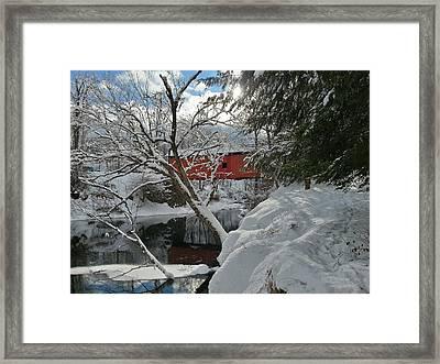 Blanket Of White Covers The Slaughterhouse Covered Bridge Framed Print
