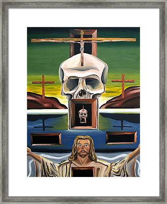 Framed Print featuring the painting Blasphemixition by Ryan Demaree