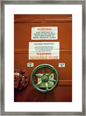 Blast Door At A Missile Base Framed Print by Jim West