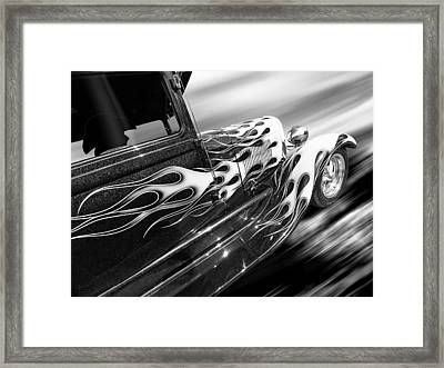 Blazing A Trail - Ford Model A 1929 In Black And White Framed Print