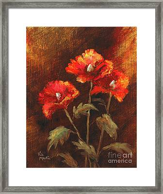 Framed Print featuring the painting Blazing Poppies by Vic  Mastis