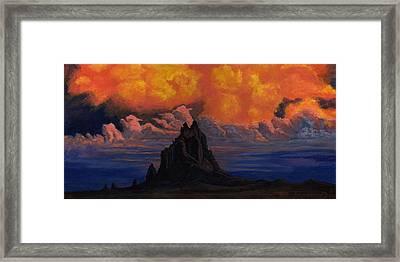 Blazing Skys Of Shiprock Framed Print by Timithy L Gordon
