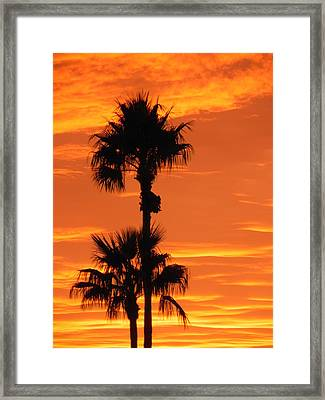 Framed Print featuring the photograph Blazing Sunset by Deb Halloran