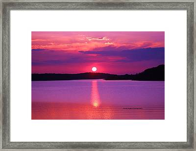 Framed Print featuring the digital art Blazing Sunset by Lorna Rogers Photography