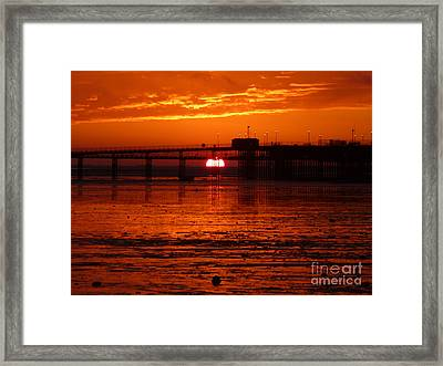 Framed Print featuring the photograph Blazing Sunset by Vicki Spindler