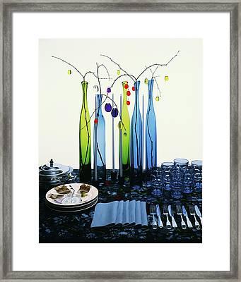 Blenko Glass Bottles Framed Print by Rudy Muller
