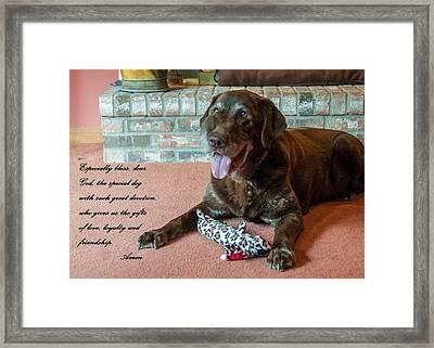Bless This Dog Framed Print by Guy Whiteley