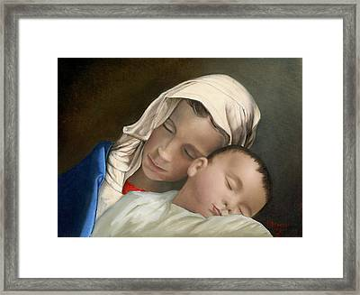 Baby Jesus And Blessed Mother Mary And Jesus Framed Print