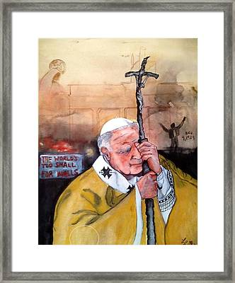 Blessed Pope John Paul II And Collapse Of Berlin Wall Framed Print by Laura LaHaye