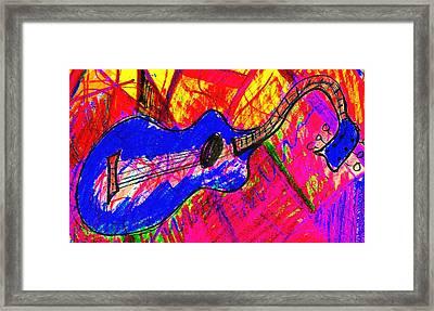 Bleu Guitar Framed Print by Bill Solley