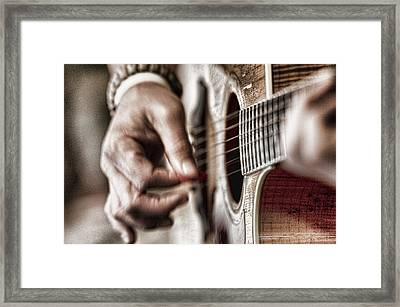 Bleu Guitar Framed Print by Sheri Bartoszek